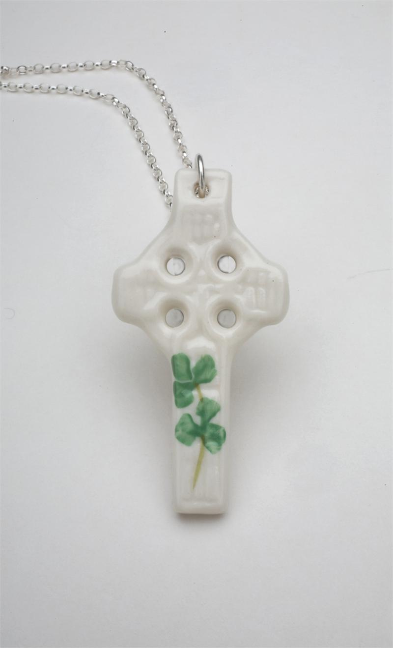 Celtic Cross With Shamrock Shamrock celtic cross pendant